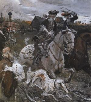 Valentin Aleksandrovich Serov - Peter II (1715-30) and the Tsarevna Elizabeth (1709-62) Hunting, 1900