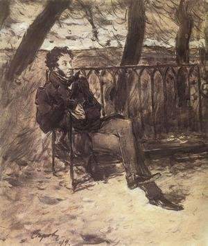 Alexander Pushkin (1865-1911) in a Park, 1899