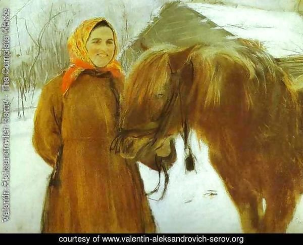 In A Village Peasant Woman With A Horse 1898