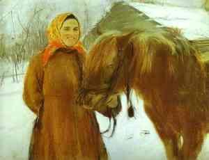 Valentin Aleksandrovich Serov - In A Village Peasant Woman With A Horse 1898