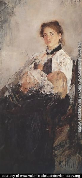 Portrait Of Nadezhda Derviz With Her Child 1888-89