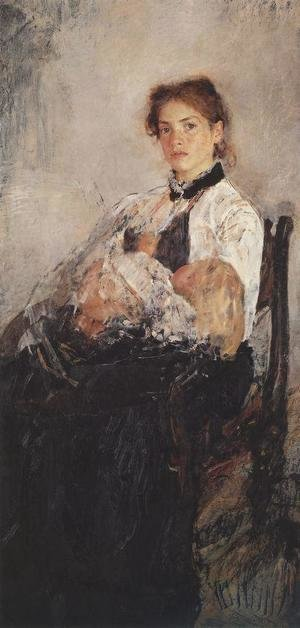Valentin Aleksandrovich Serov - Portrait Of Nadezhda Derviz With Her Child 1888-89