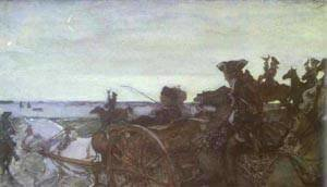 Valentin Aleksandrovich Serov - Rinsing Linen On The River 1902