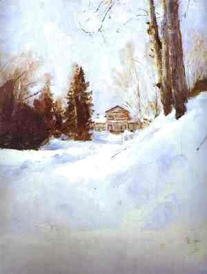 Valentin Aleksandrovich Serov - Winter In Abramtsevo The Mansion Study 1886
