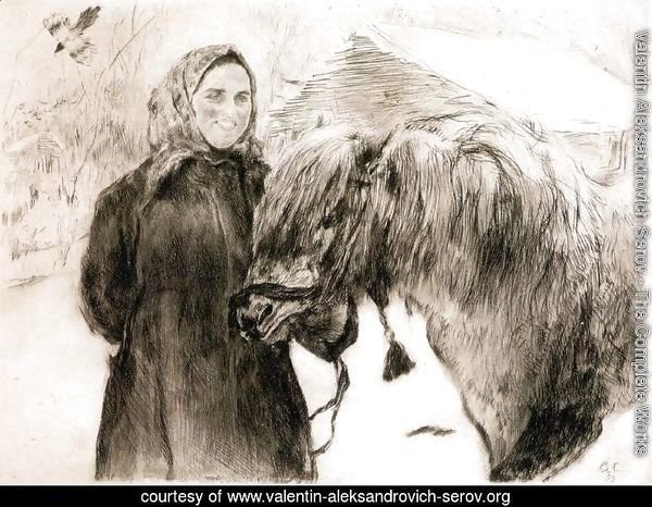 In a Village. Peasant Woman with a Horse