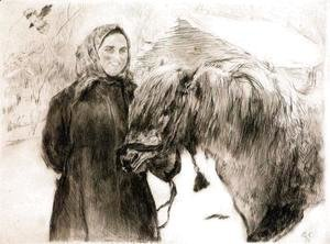 Valentin Aleksandrovich Serov - In a Village. Peasant Woman with a Horse