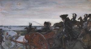 Valentin Aleksandrovich Serov - Catherine II Setting out to Hunt with Falcons