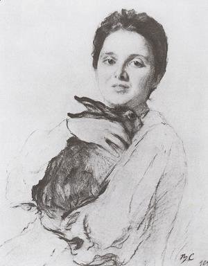 Portrait of K.A. Obninskaya with bunny