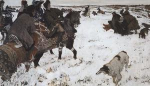 Valentin Aleksandrovich Serov - Peter I on the hunt