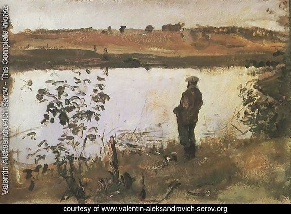 Artist K. Korovin on the river bank