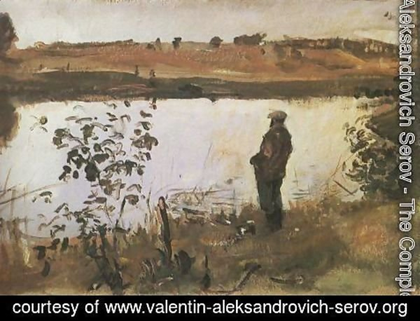 Valentin Aleksandrovich Serov - Artist K. Korovin on the river bank